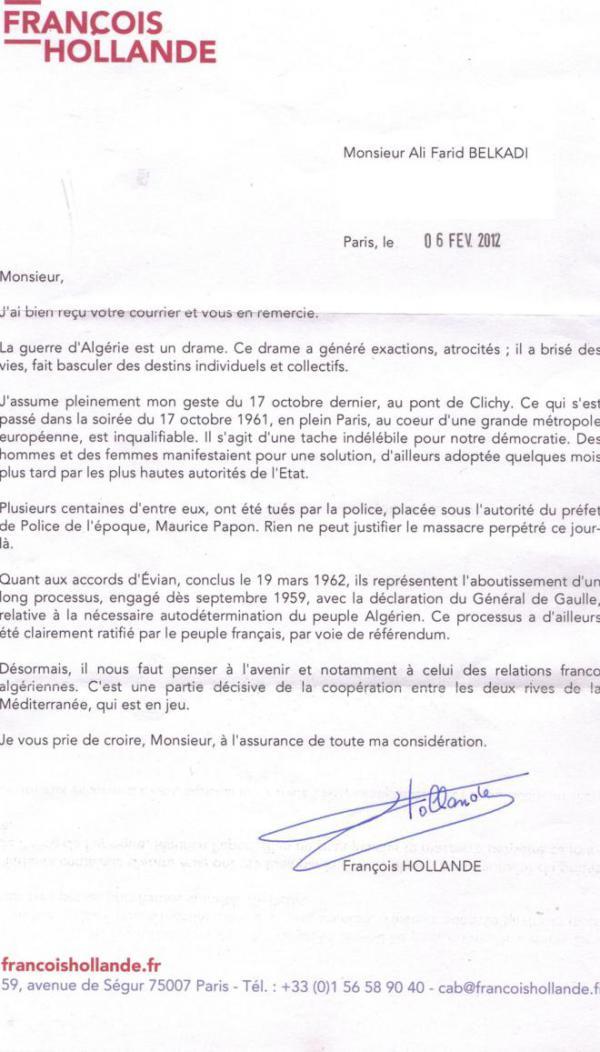 Lettre de François Hollande