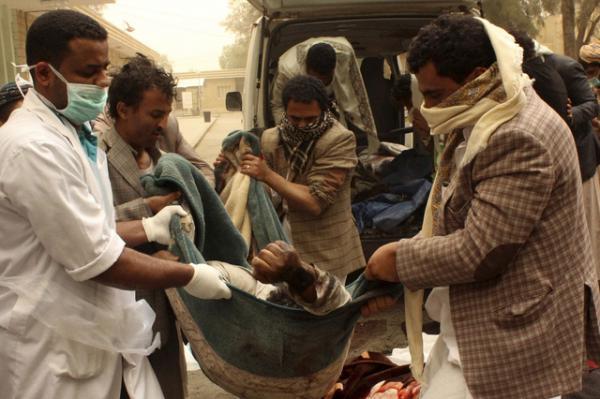 Les ravages des bombardements de la coalition arabe
