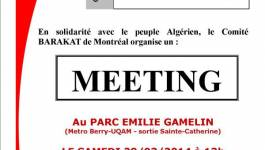 Un mouvement Barakat organise un meeting de solidarité avec le peuple algérien