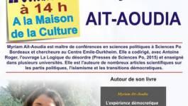 Myriam Aït-Aoudia, invitée du Café littéraire de Béjaïa samedi 22 octobre