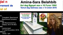 L'enterrement d'Amina-Sara Belahbib prévu jeudi à Ottawa