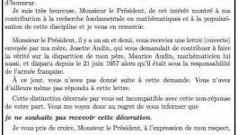 La lettre de Michèle Audin à Nicolas Sarkozy
