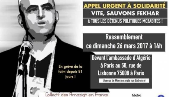 Affaire Fekhar : rassemblement dimanche devant l'ambassade d'Algérie à Paris