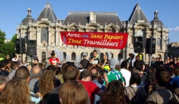 Manifestation de soutien aux sans papiers.