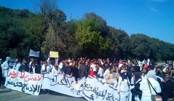 Les contractuels ont marché de Bejaia jusqu'à Boudouaou avant que les forces de sécurité ne leur intime l'ordre d'arrêter.