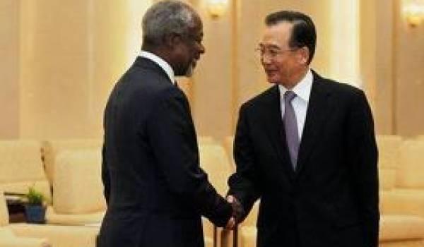Kofi Annan avec Wen Djibao, premier ministre chinois