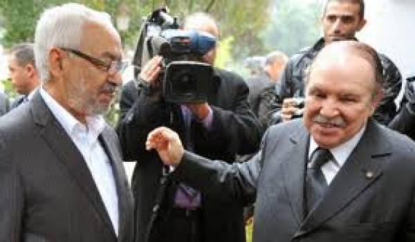 Le scénario à la tunisienne serait une des solutions que préconiserait le président. Ici Ghannouchi et Bouteflika.