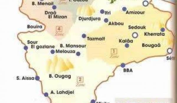 Le découpage des zones et régions de la wilaya III