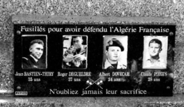 Plaque commémorative pour les tueurs de l'OAS.