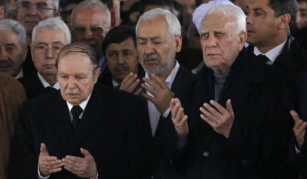 Bouteflika, Ghannouchi et Chadli aux funérailles d'Ahmed Ben Bella