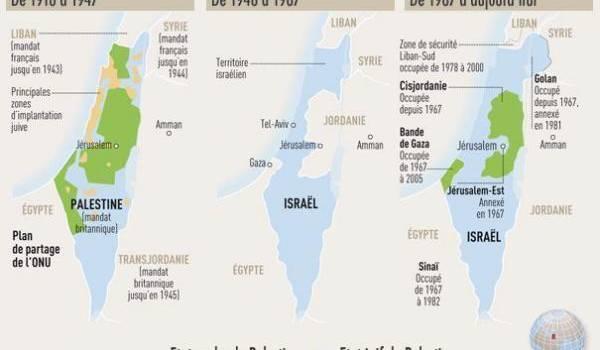 Les territoires palestiniens rognés par l'expansionisme israélien.