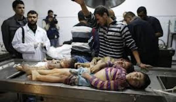 Les bombes israéliennes  font des ravages parmi les civils palestiniens.