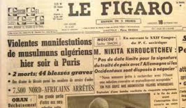 Exemple de l'occultation de la réalité du massacre des Algériens par certains médias français de l'époque.