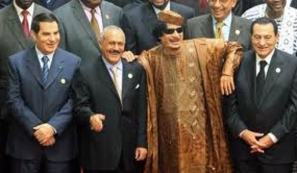 Ben Ali, Saleh, Kadhafi et Moubarak.