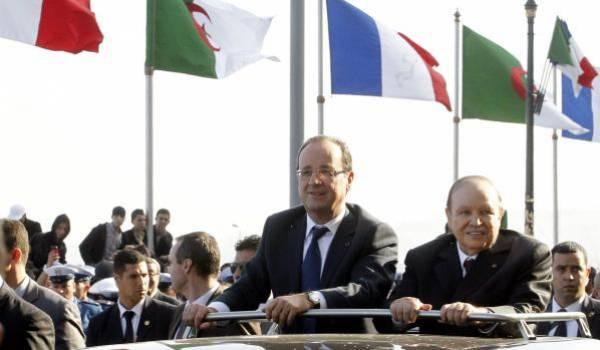 Hollande et Bouteflika. Ici lors de la dernière visite officielle en Algérie du président français..