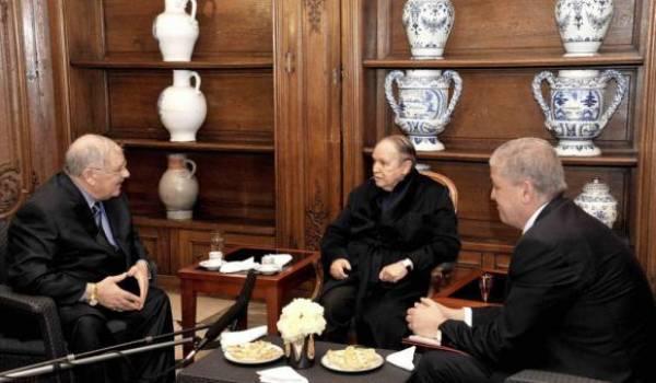 Gaïd Salah, Bouteflika et Sellal pendant l'hospitalisation du président à Paris.
