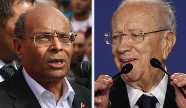 Mahmoud Marzouki, ancien opposant et Béji Caïd Essebsi, un cacique du pouvoir.