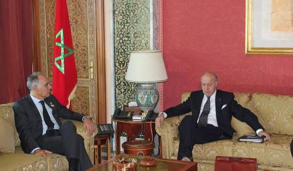 Salaheddine Mezouar, le MAE marocain avec Laurent Fabius, MAE français.