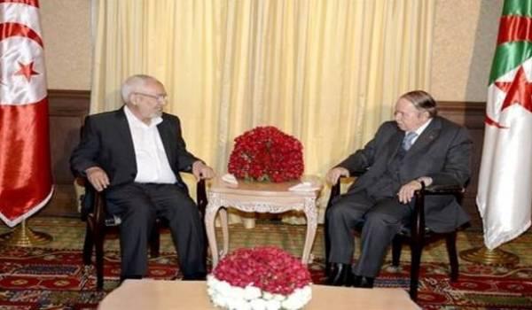 Abdelaziz Bouteflika recevant l'islamiste tunisien Rached Ghannouchi.