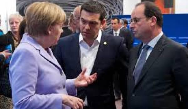 Merkel, Tsipras et Hollande.