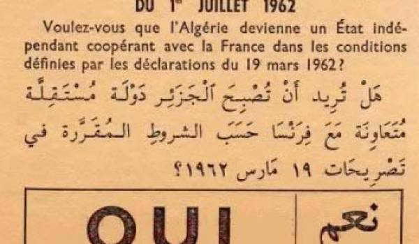 Le bulletin de vote de l'élection du 1er juillet 1962.
