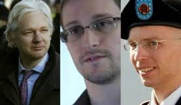 Julian Assange, Edward Snowden et Bradley Manning
