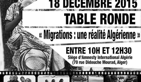 L'affiche de la journée internationale des migrant-e-s à Alger.
