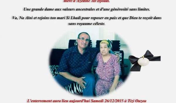 Condoléances à Azzedine Aït Djoudi