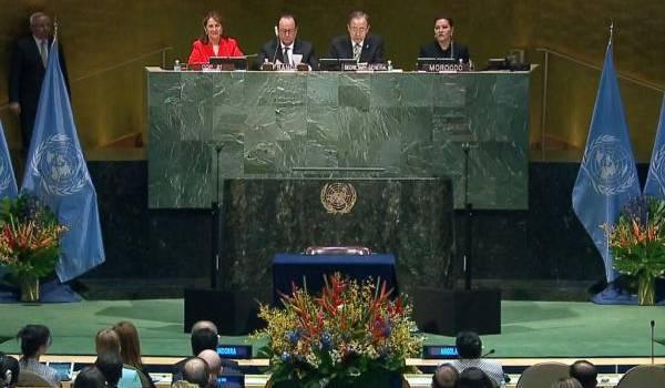 Cérémonie à New York de ratification de l'accord de la COP21