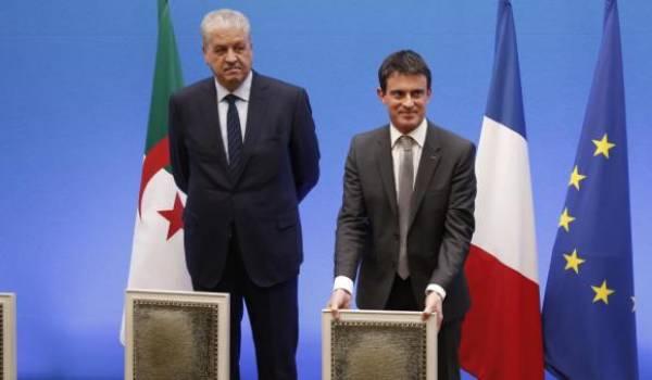 Abdelmalek Sellal et Manuel Valls.