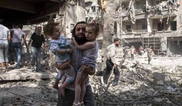 Alep sous les bombes de Bachar Al Assad. Photo AFP/Karam Al-Masri,