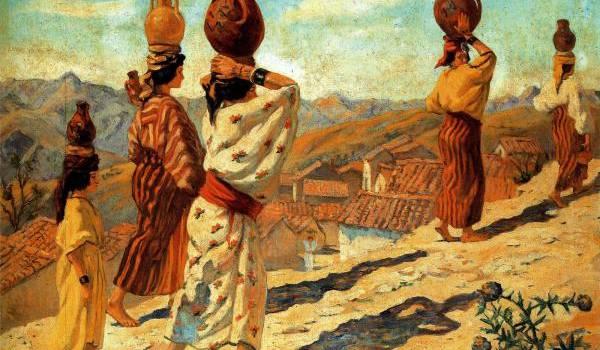 """Tedeschi Marguerite """"Femmes de Aït Hachem"""", Kabylie 1913, Huile sur toile 80 x 100 cms"""