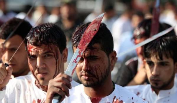 Scène de célébration de l'Achoura dans le quartier Khadimiya, à Bagdad. Photo AFP