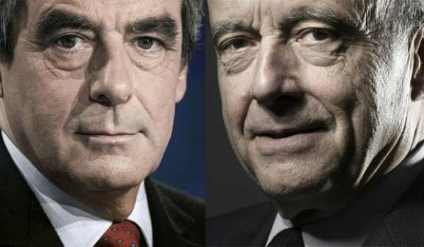 François Fillon et Alain Juppé, les deux finalistes de la primaire de droite et du centre en France.