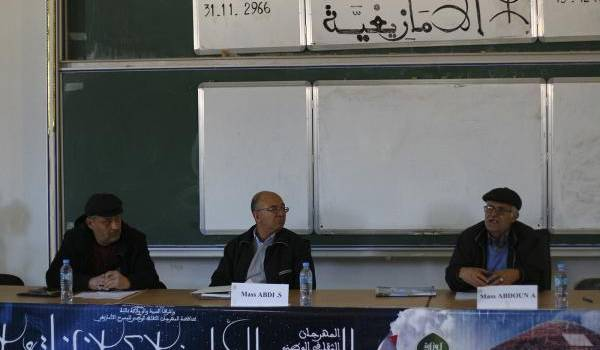 Saci Abdi (au centre), Ali Abdou (à droite) à Batna. Crédit photo. M. Bentalha.