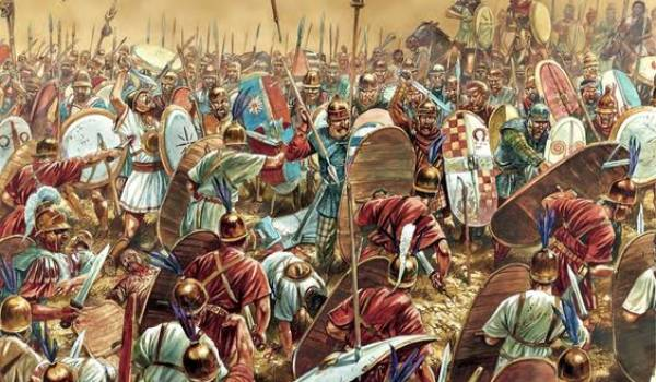 Scène de la bataille de Zama.
