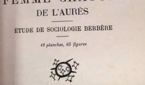 """La couverture de l'ouvrage """"La femme chaouia des Aurès"""" de Mathéa Gaudry."""
