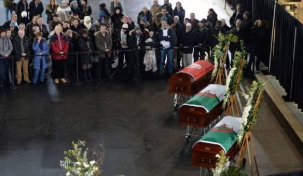 Cérémonie en hommades des deux victimes algériens et du Tunisien. Photo AFP