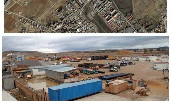 Vue aérienne des dégâts des travaux.