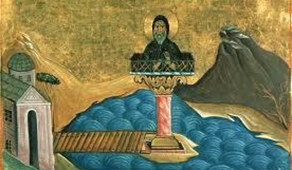 Le stylite Saint Agathon lors d'une mortification en Égypte