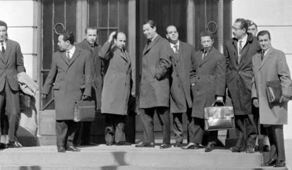 La délégation du FLN aux négociations d'Evian. A sa tête Krim Belkacem.