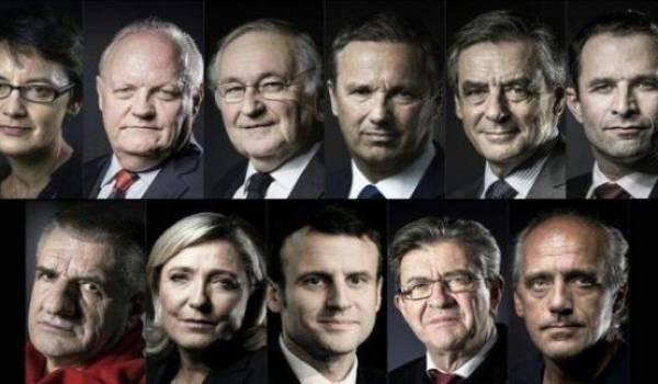 Les onze candidats à la présidentielle française.