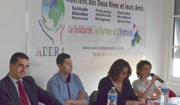 Les animateurs de la conférence-débat de l'association Addra.