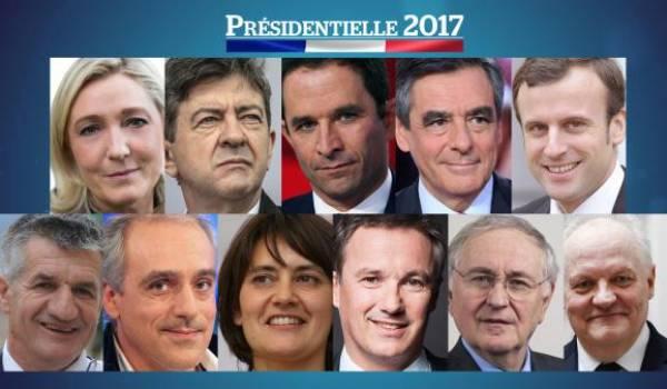 Les candidats pour la présidentielle.