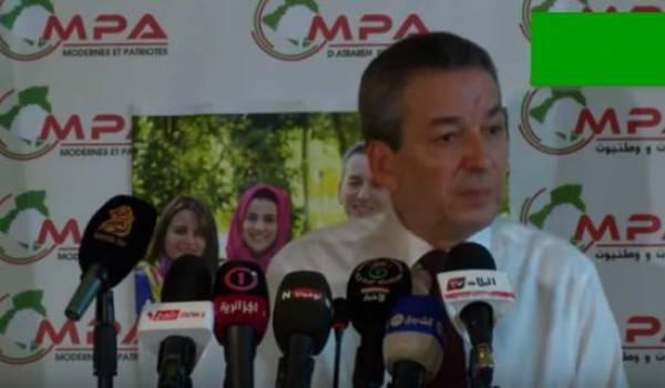 Amara Benyounes, président du MPA, hier à l'hôtel Mazafran (Alger)