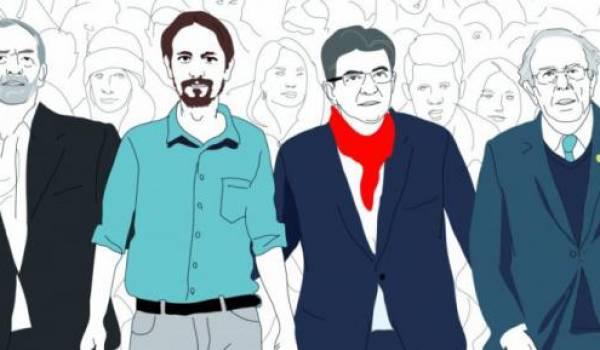 De gauche à droite: Jeremy Corbyn, Pablo Iglesias, Jean-Luc Mélenchon et Bernie Sanders