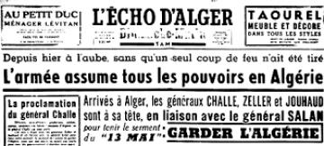 """RSS - Mémoire 25 avril 1961 : retour sur l'échec du dernier coup d'État français vu par """"La MATIN.dz"""" journal algérien en ligne Echo_345284881"""